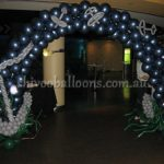 dark blue balloon arc - view our balloon art - beautiful balloon backdrop - shivoo balloons and decor specialists in coburg north