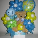 Teddy Bear , Blue and Green Balloons for baby showers