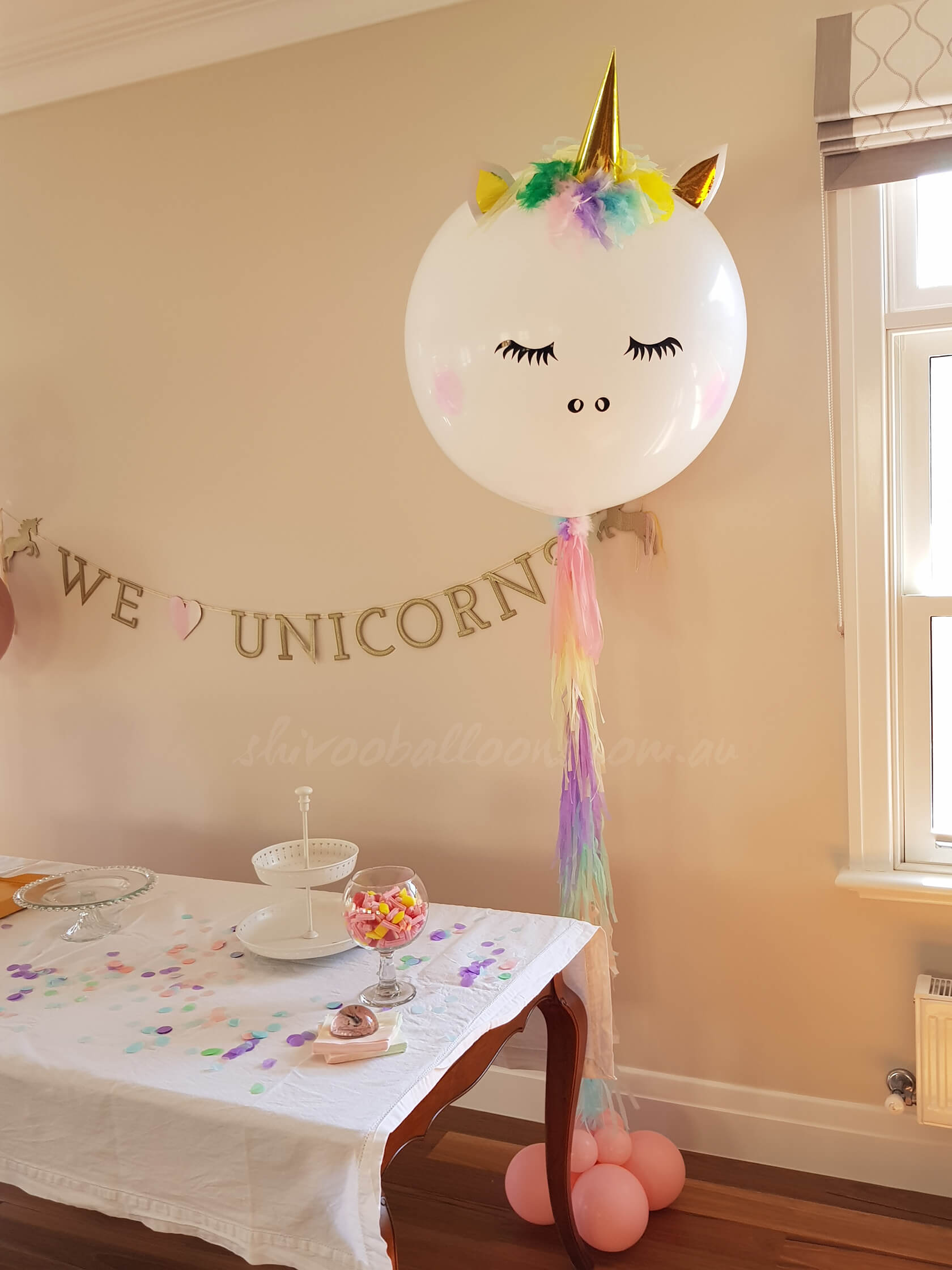 party decorators Unicorn Arrangement - see our events - dazzling balloons - shivoo balloons and decor specialists in coburg north