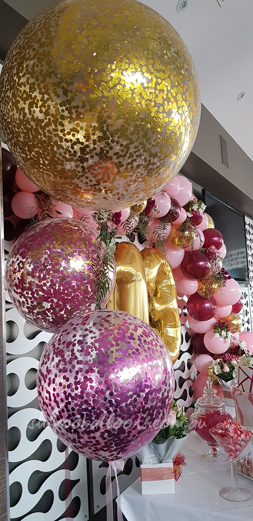 Glittery Balloons - see our events - creating designs for events - shivoo balloons and decor specialists in coburg north