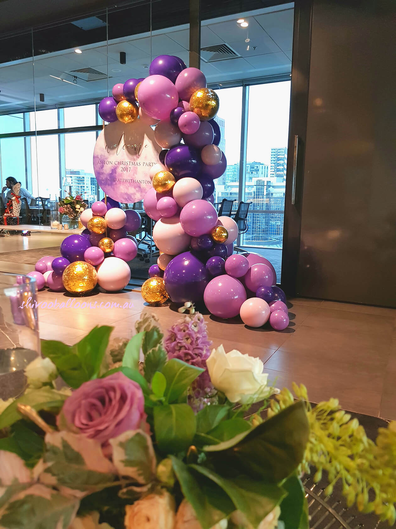 Different shades of violet balloon arrangement - see our events - business event decor - shivoo balloons and decor specialists in coburg north