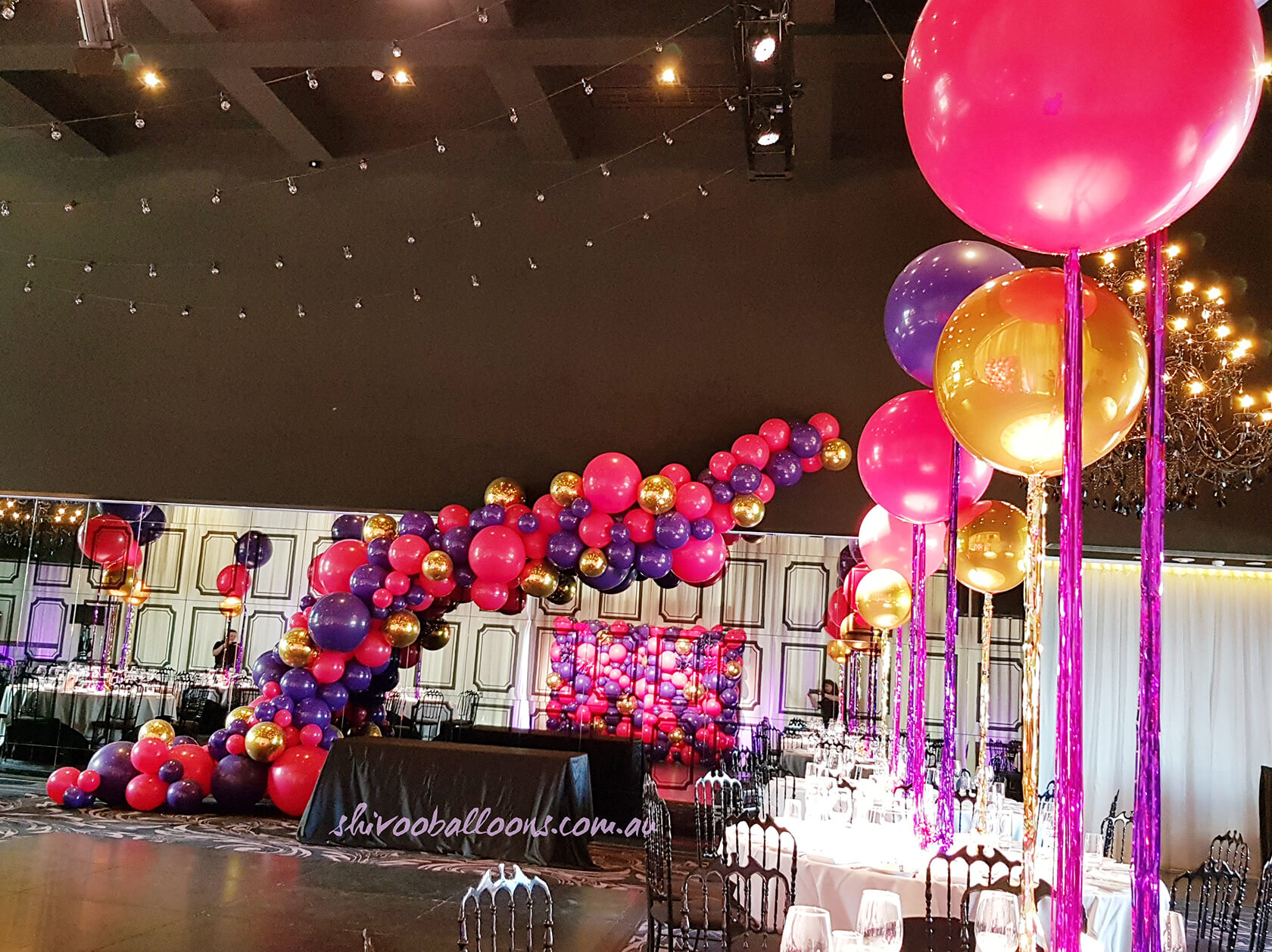Party pink purple and gold balloons - see our events - Birthday Parties decor - shivoo balloons and decor specialists in coburg north