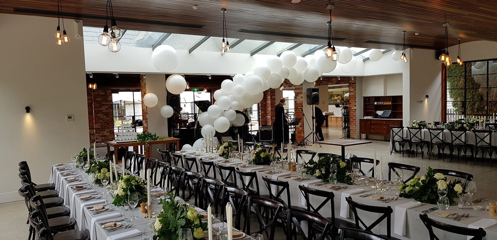 White Balloon Arrangement - see our events - beautiful balloon backdrop - shivoo balloons and decor specialists in coburg north